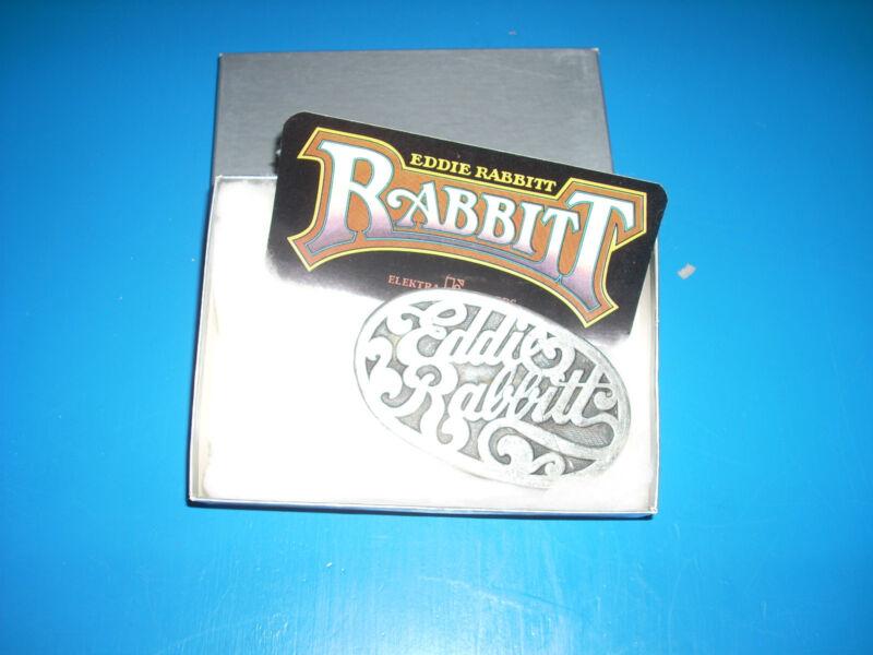 EDDIE RABBITT Elektra Belt Buckle with sticker MIB Original Official Promo