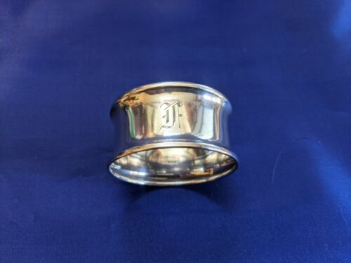 """Antique Birks Sterling Silver Napkin Ring """"F"""" initial engraving"""