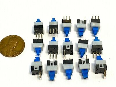 15x Push Button Latching Tactile Switch 7x7mm Blue Button 3-pin Micro Onoff B10