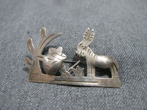 Vintage marked ROC 925 Sterling man w/ sombrero cactus & donkey pin brooch