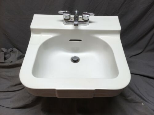 Vtg Mid Century Ceramic White Porcelain Bath Wall Sink Crane Yorkshire 450-20E