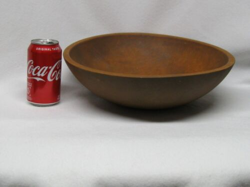 """VTG  Large 13-3/4 x 13"""" Slightly Oval Wooden Mixing/Dough Bowl Hand-made"""