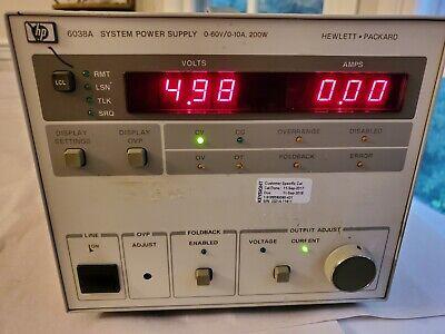 Hp Agilent 6038a 0-60 Volt 0-10 Amps 200 Watt Power Supply - Tested