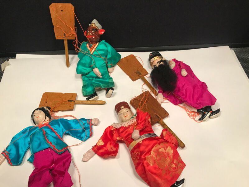 VINTAGE ORIENTAL ASIAN MARIONETTE PUPPET SET OF FOUR HAND PAINTED EACH 8