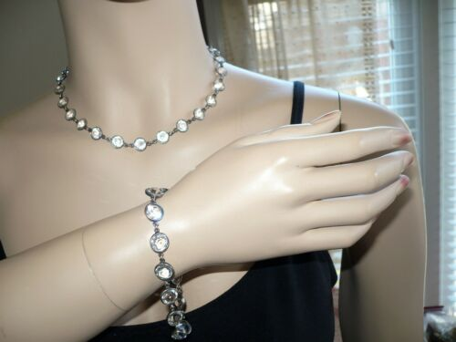Antique Art Deco Sterling Silver Open Back Clear Necklace & Bracelet Set