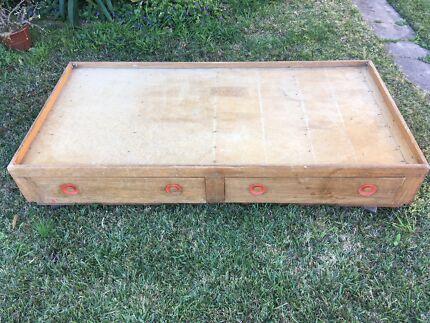 Retro timber bed base, single size