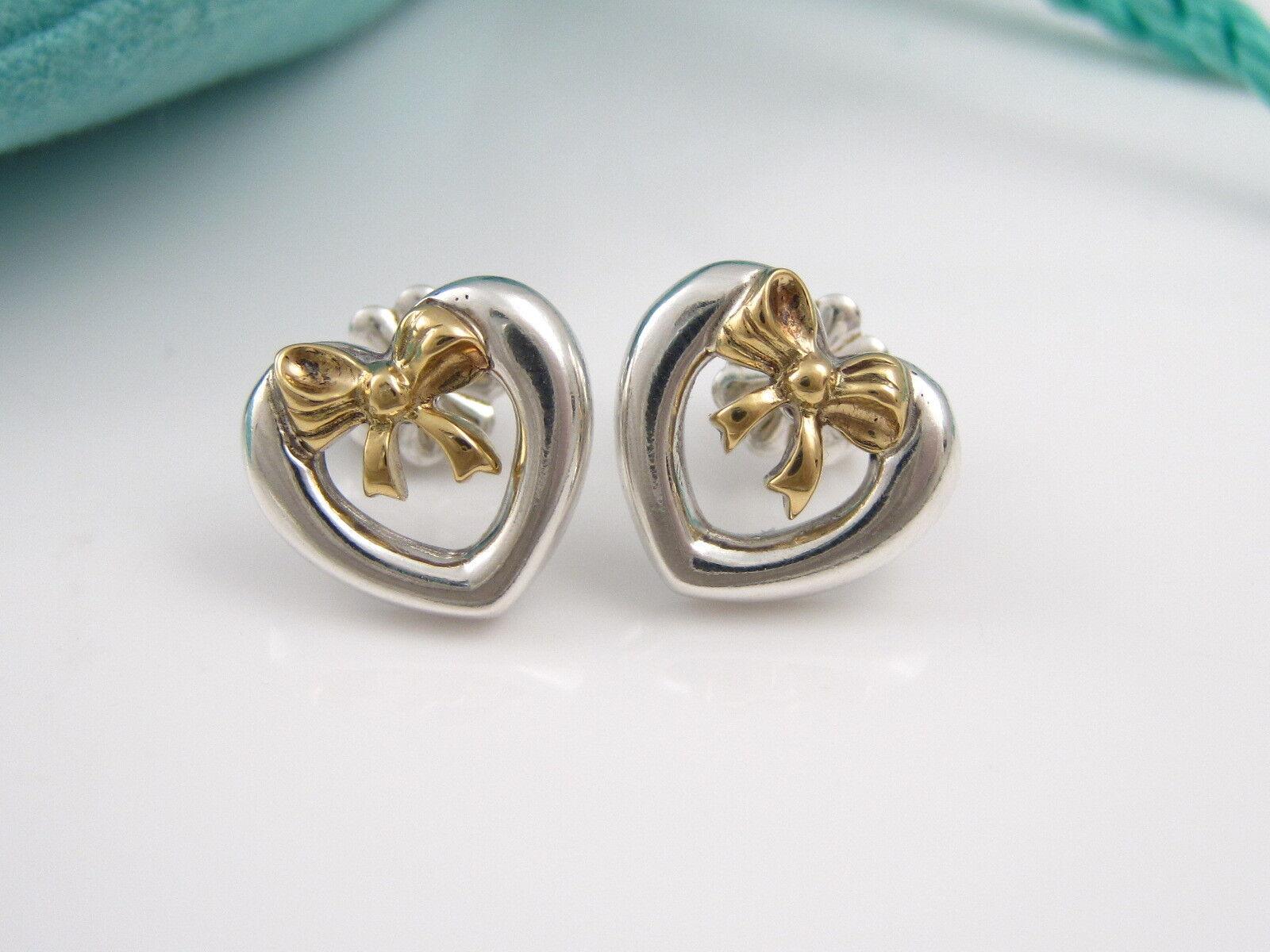 Tiffany & Co RARE Silver 18K Heart Bow Stud Earrings! | eBay