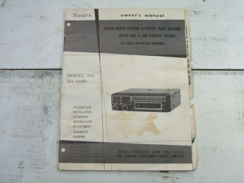 Vtg Sears Solid State Stereo 8-Track Tape Player Radio Owners Guide #564.50480