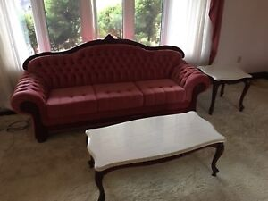 Victorian style antique pink couch love seat chair furniture