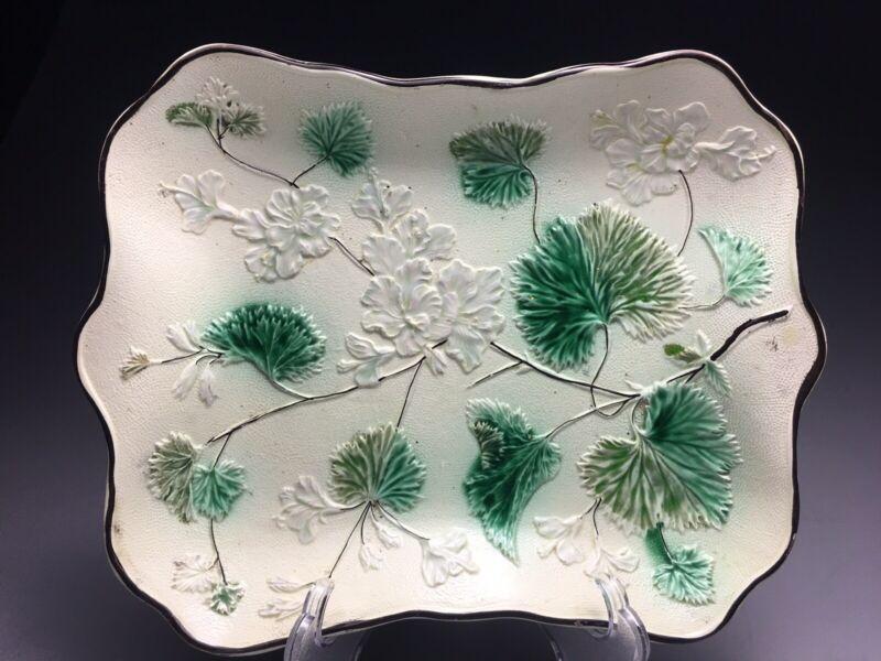 Beautiful Antique European Majolica Geranium Platter