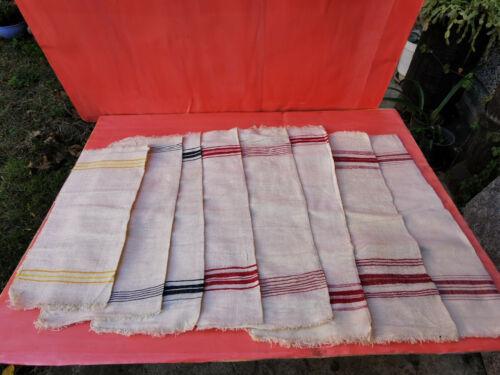 OLD ANTIQUES PRIMITIVE HAND WOOVEN HOMESPUN TOWELS COTTON KITCHEN - LOT OT 8