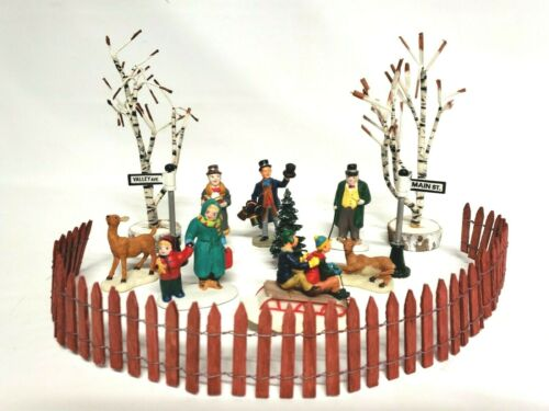 Mixed lot of 13 Christmas Village Accessories Figures Trees Street Signs Lemax