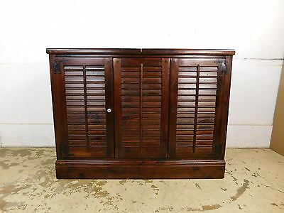 Vintage Ethan Allen Old Tavern Pine Record Music Cabinet Tambour Louver Doors