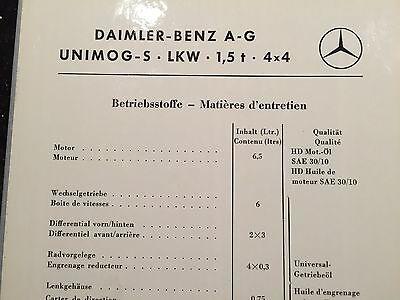 Unimog 404 S Schmierplan Bundeswehr Schweizer Armee Ölwechsel Reparaturanleitung