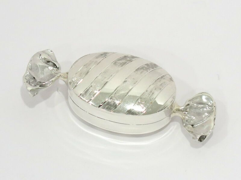 2 3/8 in - Sterling Silver Italian Candy-Shaped Pill Box