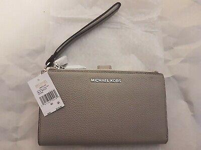 Michael Kors Adele Double Zip Leather Wristlet Smartphone Wallet - Pearl Grey