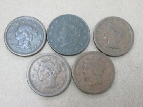 5 Coins Various Dates Cull Large Cents 1818-1854 Q2GX