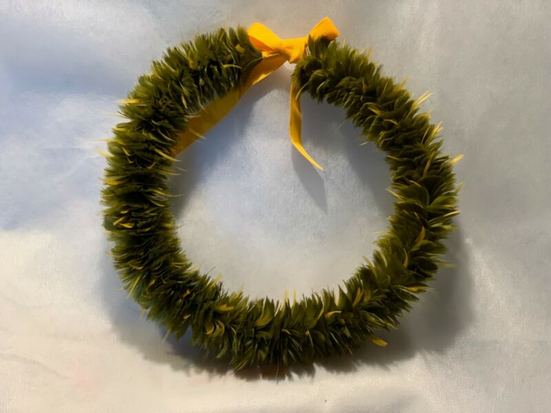 Hawaiian Feather Lei, Olive with Yellow embellishments, New