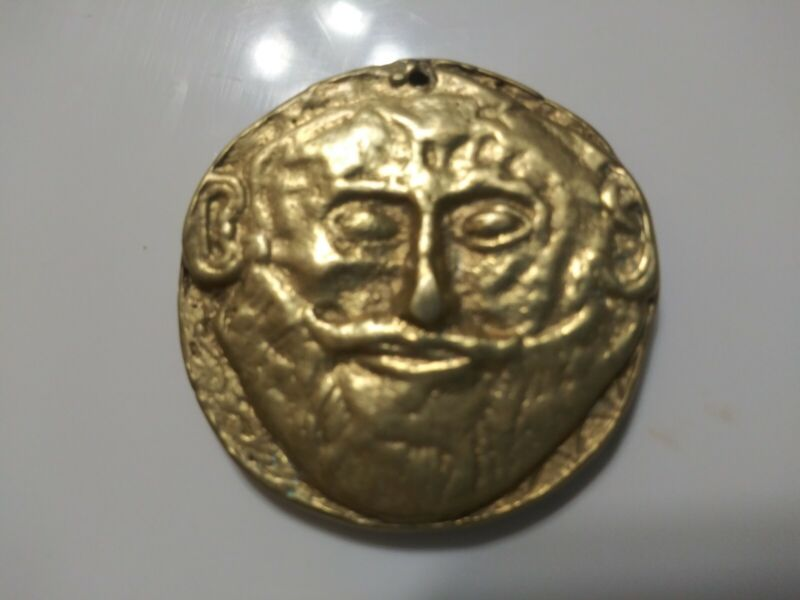 ANCIENT MYCANAE FUNERAL MASK MEDAL GREEK 1200 BC
