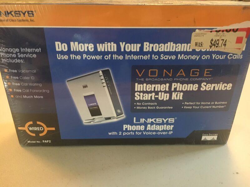 Linksys Vonage Internet Phone Service StartUp Kit Broadband Router 2 Phone Ports