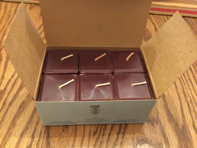 Partylite VERY RARE AND RETIRED MULBERRY SCENTPLUS SQUARE VOTIVES