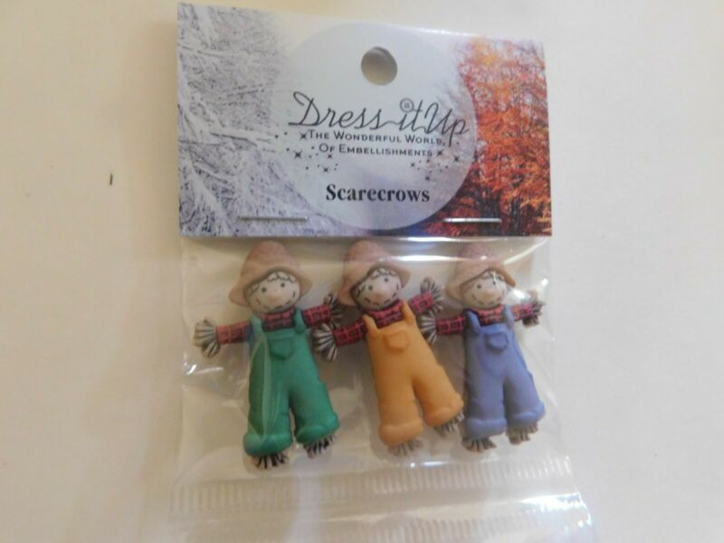 Dress it up Shank back buttons Scarecrows 3 pieces