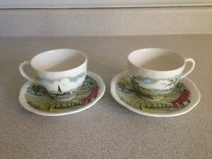2 Vintage Alfred Meakin Home Pastures Tea Cups and Saucers