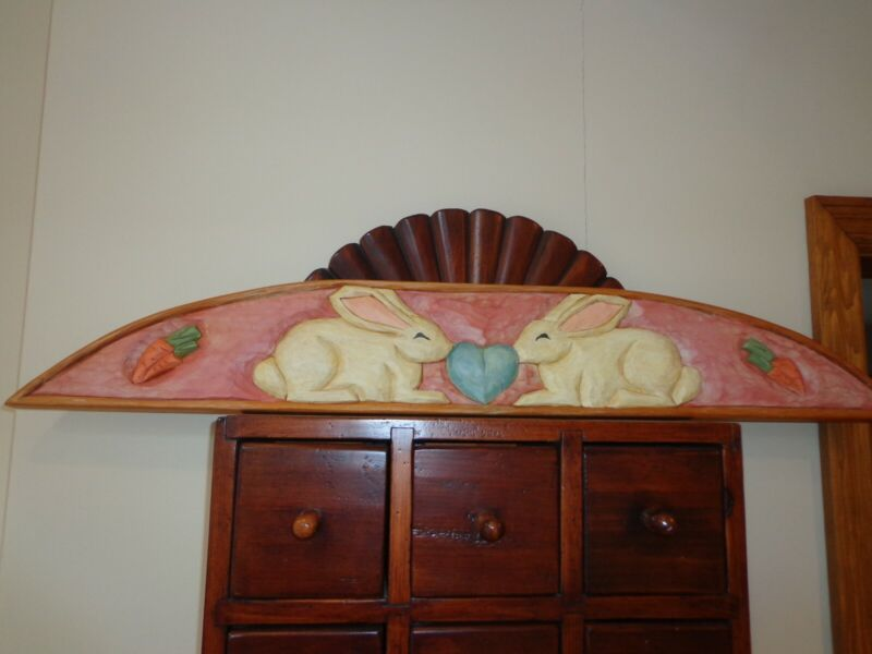 Vintage Wood Hand Carved & Painted Easter Bunny-Heart-Carrot Over the Door Board