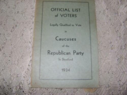 VINTAGE 1934 STRATFORD CT VOTER LIST BOOKLET REPUBLICAN PARTY (WOMEN SEPARATE)