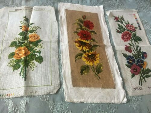 Three Beautiful Vintage Hand-Embroidered Tapestries
