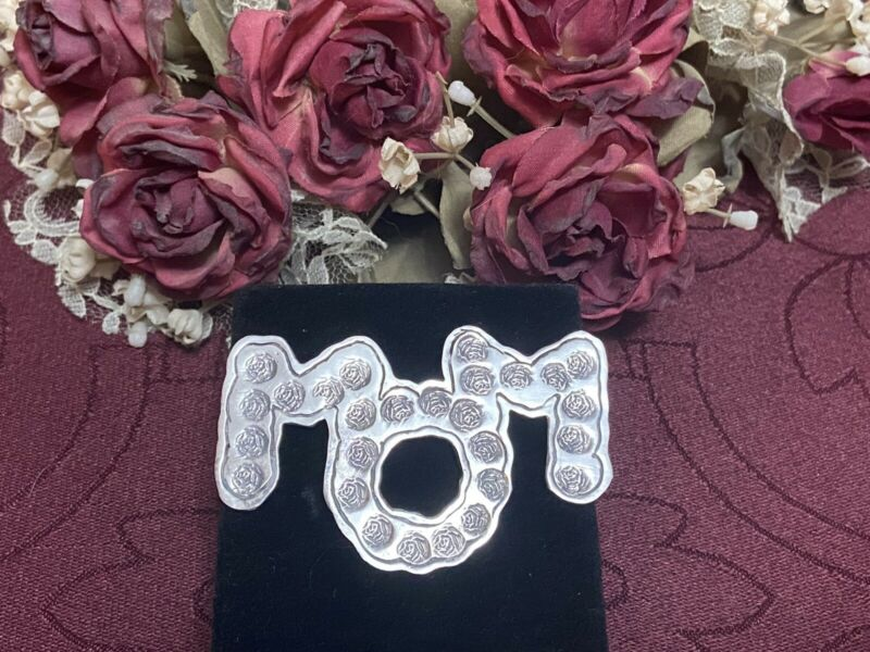 Big VTG MOM Brooch Pin Mother Rose Sweater EFS MEXICO 925 Sterling Silver Gift