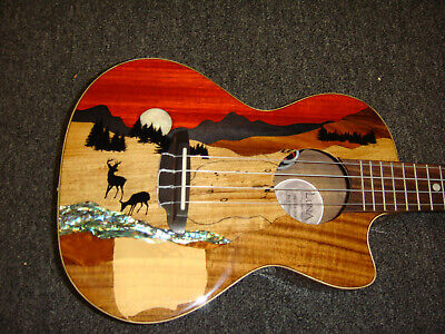 Luna Vista Deer Tropical Wood Tenor Acoustic Electric Ukulele w/ GigBag