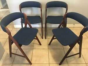 Set of 4 Mid century modern Danish Teak dining chairs