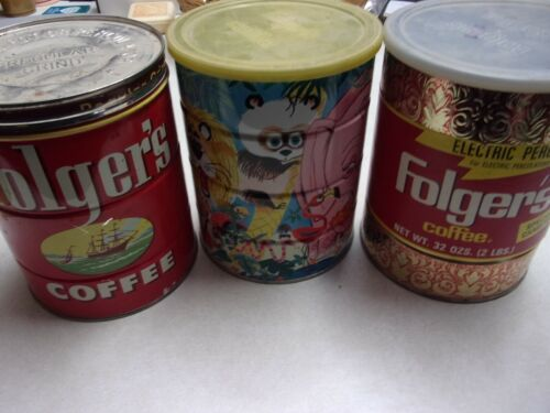 Vtg Folger Coffee Cans Lot of Three, Jungle, Electric Perk, and Ship Logo