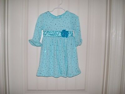 YOUNGLAND GIRLS AQUA SPARKLE SWEATER KNIT DRESS WITH FLOWER SIZE 18 MONTHS & 3T