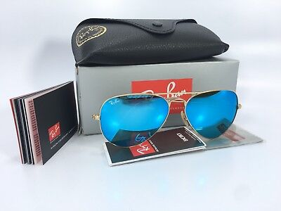 Ray Ban Aviator RB3025 112/17 58/14 Gold Blue Mirror Lens (Ray Ban Gold Mirror Aviator)