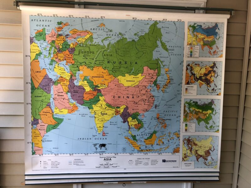Nystrom Political Relief Map World, Asia, Africa & Middle East 4 Maps