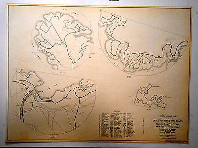Old Original Travis County Texas Highway Dept Map 1958 Volente Marshall Ford