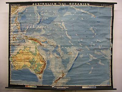 Schulwandkarte Wandkarte Rollkarte Australien Ozeanien Schulkarte 196x157cm 1952