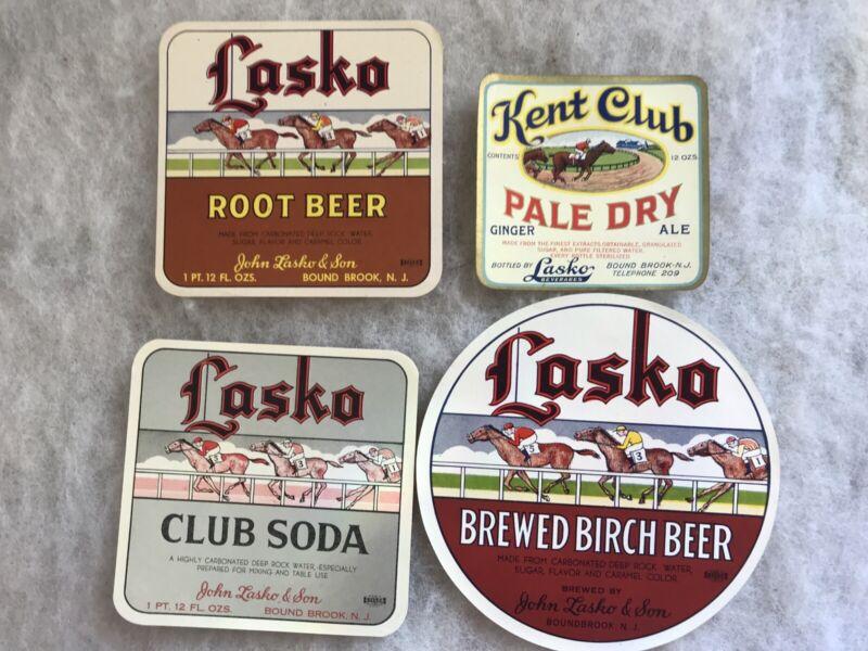 4 Different Unused JOHN LASKO BEVERAGES Vintage Soda Labels, Bound Brook N.J.