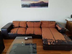 Leather couch minus the leather Dee Why Manly Area Preview