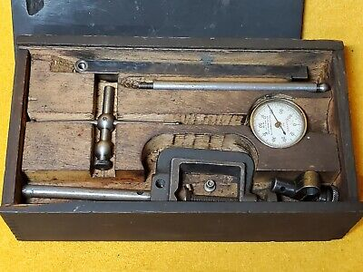 Vintage Starrett Plunger Dial No 196 Test Indicator Set In Original Wood Box
