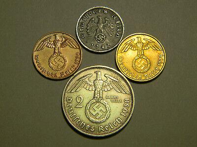 *ULTRA RARE* 4 WW2 Coin 2 RM Marks Reichsmark Silver German Lot