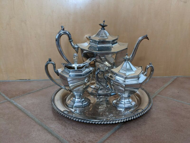 ANTIQUE REED & BARTON SIGNED SILVER PLATED TEA SET W/ TRAY & STERLING 925 SPOON