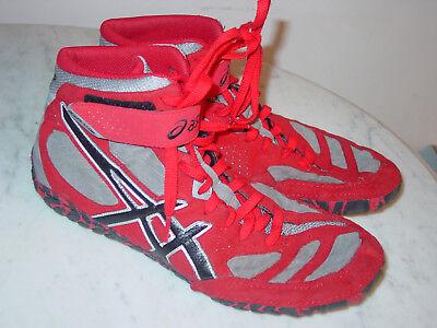 e5542d3fb6ee26 Mens Asics Aggressor 2 J300Y Gray Black Red Wrestling Shoes! Size 11