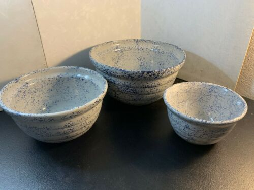 Vintage Monmouth Pottery Stoneware USA Speckled Mixing Bowls (3) Total!!