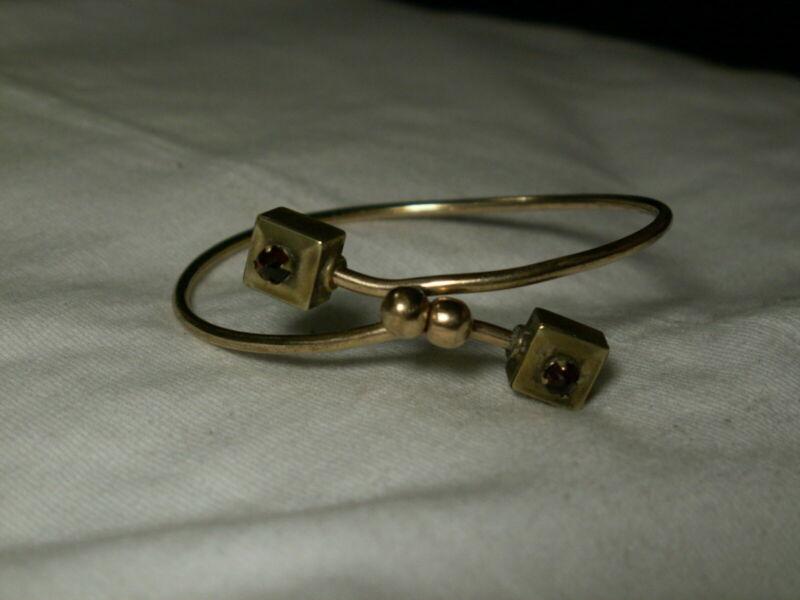 ...Victorian Gold Filled,Garnets Bypass Design Bracelet...