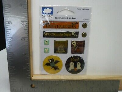 CLOUD 9 HAPPY HALLOWEEN EPOXY ACCENT STICKERS EMBELLISHMENTS NEW A20886