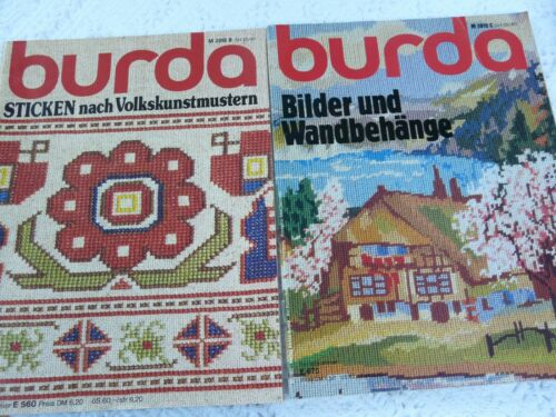 2 Burda Stitching Needlepoint magazines cross-stitch needlework, German