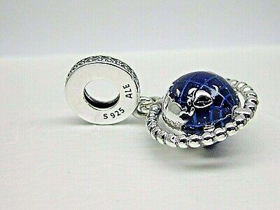 Globe Charm - Authentic Pandora #798021CZ Spinning Globe Dangle Charm Blue with Clear CZ